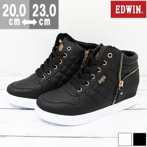 即納 あす着 送料無料 スニーカー 子供 キッズ ジュニア エドウィン ハイカット 白 黒 靴 EDWIN EDW-3505