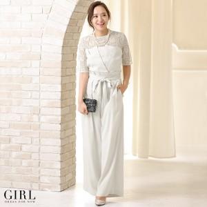 パーティードレス パンツスタイル パンツドレス 結婚式 大きいサイズ 2点セット ブラウス ジャンプスーツ 半袖 モデル美香着用