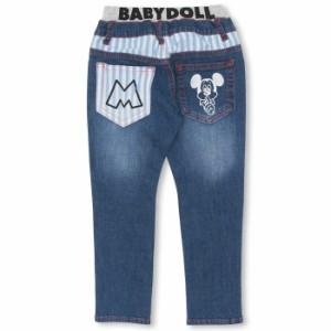 NEW ディズニー ラクガキデニムロングパンツ ベビーサイズ キッズ ベビードール BABYDOLL 子供服/DISNEY-0241K