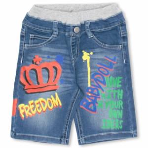 ラクガキ デニム ハーフパンツ ベビーサイズ キッズ ジュニア ベビードール 子供服-0613K(150cmあり)