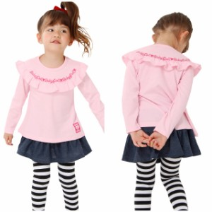 NEW フリル ロンT 0930K ベビードール BABYDOLL 子供服 ベビーサイズ キッズ 女の子 トップス 長袖 無地 ピンク レッド