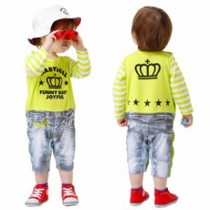 NEW 袖 総柄 ロンパース 0976B ベビードール BABYDOLL 子供服 ベビーサイズ 長袖 おしゃれ 男の子 女の子 ドット ボーダー デニム