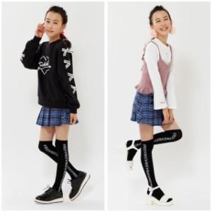 9/10NEW PINKHUNT ロゴ ニーハイソックス 1162 キッズ ジュニア 女の子 雑貨 靴下 小学生 中学生 おしゃれ かわいい オーバーニー