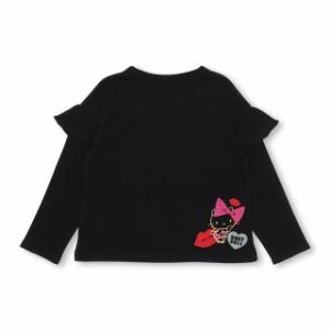 7/9NEW サンリオ 袖フリル ロンT 1446K ベビードール 子供服 ベビーサイズ キッズ 女の子 ラメ イエロー ブラック ハローキティ