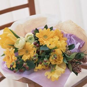 【結婚祝いの花 父の日 17】 おまかせ! 黄色オレンジ系 花束  花ギフト結婚祝いの花祝い、