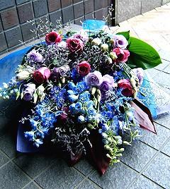 【結婚祝いの花 父の日 3】 おまかせ ブルー系 花束  花ギフト結婚祝いの花祝い、誕生日 ホ