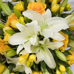 【結婚祝いの花 父の日 36】 おまかせ!黄色オレンジ系花束ブーケ 花ギフト結婚祝いの花祝い、