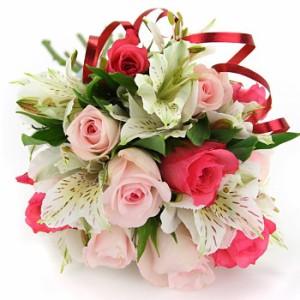 【結婚祝いの花 父の日 69】 おまかせ!ころっ、ピンクブーケ 花束 花ギフト結婚祝いの花祝い