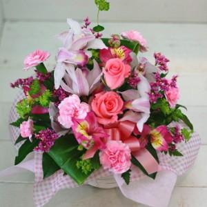 【結婚祝いの花 父の日 94】 おまかせ!ピンク系フラワーアレンジメント 花ギフト結婚祝いの花