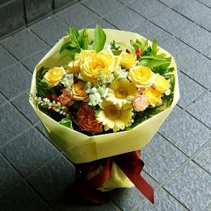 【結婚祝いの花 父の日 96】 おまかせ!黄色オレンジ系ブーケ 花束  花ギフト結婚祝いの花祝