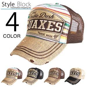 キャップ メッシュキャップ ベースボールキャップ 帽子 ワッペン アメカジ ダメージ加工 麻混 デザイン エスニック SALE セール