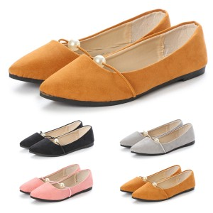 1b3413475e5c8 フラットシューズ ぺたんこ フラット パンプス アーモンドトゥ パール付き シンプル ベーシック 軽量 靴 レディース SALE セール
