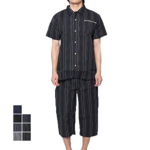 甚平 じんべい 上下セット 男性用 シジラ織り しじら 無地 ストライプ柄 和装 和服 パジャマ 部屋着 メンズ SALE セール