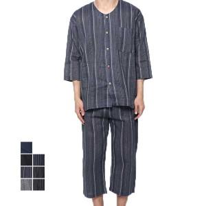 甚平 じんべい 上下セット セットアップ 七分袖 男性用 シジラ織り しじら 無地 和装 和服 パジャマ ルームウェア メンズ SALE セール