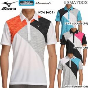 a57ebff414de54 ミズノ メンズ ゴルフウエア 杢素材 切替 半袖ポロシャツ 52MA7003