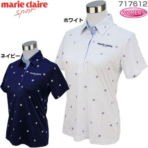 マリクレール marie claire ゴルフ レディースウエア 小花柄 半袖ポロシャツ 717-612