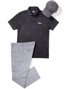 タイトリスト メンズ ゴルフウェア 星柄ジャカード 半袖ポロシャツ TSMC1812 2018年春夏モデル