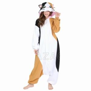 1c06895f979a97 ハロウィン 衣装 着ぐるみ 大人用 フリース 動物 ねこ みけねこ 三毛猫 2872 仮装