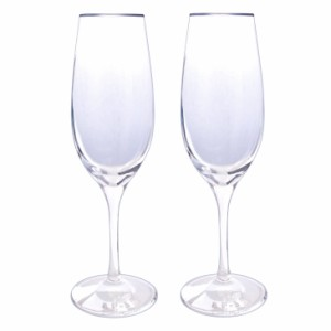 シャンパン グラス ペア LARA Christie ララクリスティー プラチナ縁巻き スワロフスキー・クリスタル 2個 セット 送料無料 lh-84-0002p