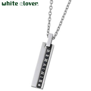 white clover ホワイトクローバー ステンレス ネックレス 金属アレルギー対応 ローマ数字 アトラス ダイヤモンド 刻印可能 4SUP053BK