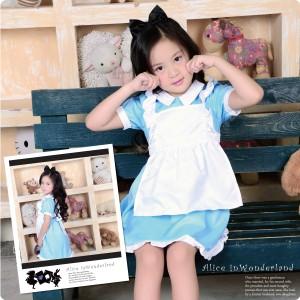 コスプレ衣装子供用不思議の国のアリスエプロンドレス水色コスチュームワンピースキッズ女の子かわいい