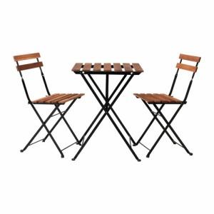 送料無料IKEAイケアTARNOガーデンテーブルセットテーブル&チェア2脚, 机椅子アカシア材, スチール