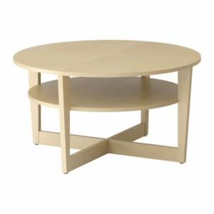 送料無料【IKEAイケア】VEJMONコーヒーテーブル バーチ材突き板 118x75 cm丸テーブル