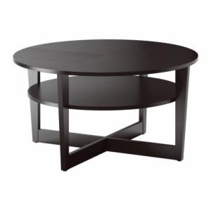 送料無料【IKEAイケア】VEJMONコーヒーテーブル 丸テーブルブラックブラウン 118x75 cm