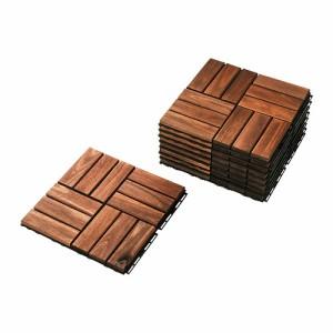 IKEAイケア RUNNEN フロアデッキ 屋外用 ブラウンステイン ブラウン 30cm×30cm×9ピース