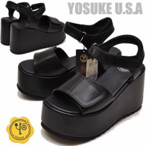 955476a0b4a3a2 厚底 サンダル 厚底スポーツサンダル 黒 ブラック レディース YOSUKE U.S.A ヨースケ