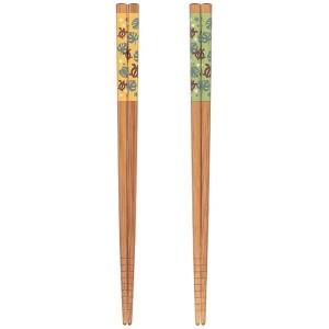 箸 22.5cm 竹製 すべり止め付 食洗・乾燥機対応 ホヌ&モンステラ [色指定不可]