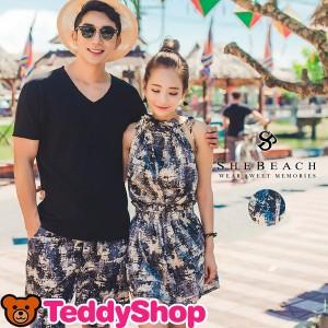 即納 メンズ Vネック Tシャツ ハーフパンツ 2点セット 韓国ブランド SHEBEACH AIDA シービーチ 正規品 男性用 トップス 短パン リゾート