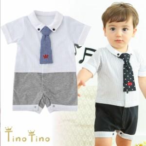 3fd4c3798bacf ティノティノ ネクタイ付きフォーマル半袖カバーオール 赤ちゃん  ベビー  ベビー服