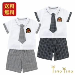 ad00e3d5643b5  送料無料  ティノティノ ネクタイ付き半袖シャツ&ハーフパンツフォーマルセット