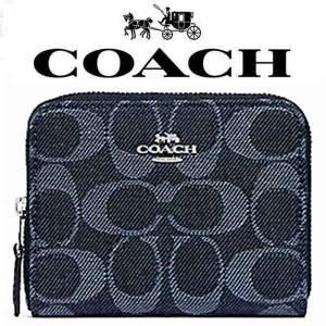 5c13d43b0919 【送料無料】F67586 SV/DE コーチ COACH デニム シグネチャー ジップ 二つ折り財布