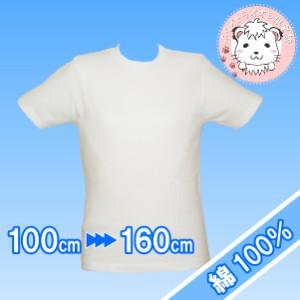 スクール Tシャツ 半袖 白 小学生 学生服 スクールシャツ 綿100% 100cm-160cm