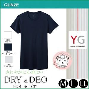 Tシャツ グンゼ GUNZE YG ワイジー DRY&DEOシリーズ 半袖 クルーネックTシャツ M L LL