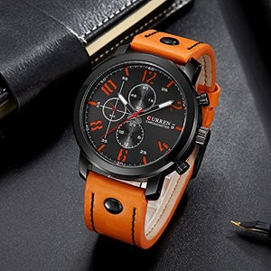 f02250fdcc Curren 腕時計 オレンジブラック Curren バンド水晶手首時計 スポーツ メンズ PU 革[定形外