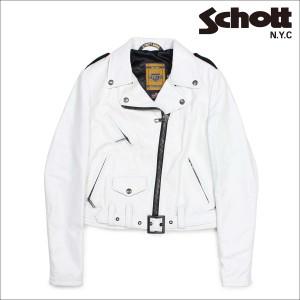 ショット Schott ダブルライダースジャケット ジャケット レザージャケット レディース ホワイト SPERW