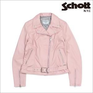 ショット Schott ダブルライダースジャケット ジャケット レザージャケット レディース MOTORCYCLE JACKET ピンク 216W