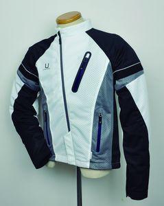 J-AMBLE urbanism バイク用ジャケット アシンメトリー メッシュジャケット ホワイト/ブラック 3L[4560331788832]