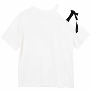 ちょっぴりセクシー 半袖Tシャツ カットソー レディース トップス アシンメトリーデザイン 肩出し 肩開き リボン 無地 Tシャツ ゆったり