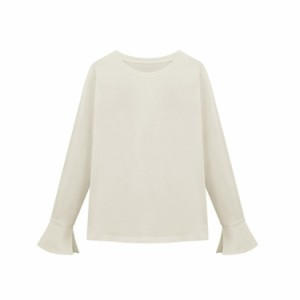 Tシャツ/長袖tシャツ/プルオーバー/カットソー/袖フリル/ベルスリーブ/大きいサイズ/無地/トップス/フレア/チュニック/フェミニン/エレガ