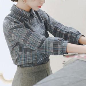 チェックシャツ 長袖ブラウス 綿麻ブラウス カジュアルシャツ チュニック トップス レディース 折襟 ナチュラル 着心地良い ク