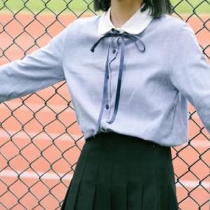 長袖ブラウス 長袖シャツ 丸襟シャツ シャツブラウス レディース リボン バイカラー カジュアル 通勤 通学 学園風 クラシック