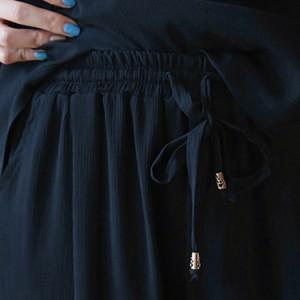 半袖トップス&7分丈パンツの2点セット 上下セット シフォンブラウス ワイドパンツ 体型カバー ゆったり ウエスト紐 レディース