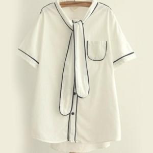 ナチュラル風シャツ レディース 半袖シャツ 襟リボン付き 森ガール系シャツ 切り替えシャツ Yシャツ トップス オリジナル