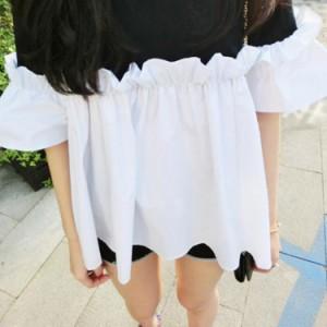 バイカーtシャツ レディース 夏tシャツ 半袖 フレアtシャツ シャツブラウス ガーリー 切り替えtシャツ レイヤードtシャツ