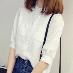綿麻シャツ レディース ナチュラル風シャツ 五分袖シャツ 立ち襟 ストライプシャツ ホワイトシャツ 森ガール系シャツ リネンシャ