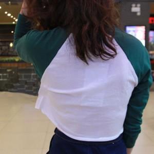 tシャツ ショート丈 レディース バイカラーtシャツ へそ出し クルーネックTシャツ インナーtシャツ 切り替えtシャツ カジュ